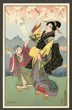 POSTCARD:  JAPANESE GEISHA w/ YOUNG GIRL by SOFIA CHIOSTRI, Series 290, Unused