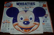 WALT DISNEY'S MICKEY MOUSE  WHEATIES BOX BACK AND SIDES  MASK  UNCUT  C. 1950'S