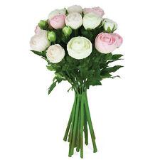 Fleurs artificielles en soie Renoncule agencement Crème Rose Vif 15 branches