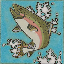 Ceramic Tile Rainbow Trout Fish hot plate wall decor installation backsplash
