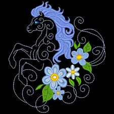 FANTASY FLORAL HORSES - 30 MACHINE EMBROIDERY DESIGNS (AZEB)