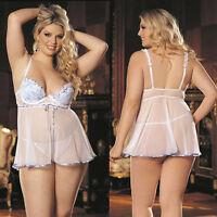 Plus Size Lingerie Sizes 1X 2X 3X White and Light Blue Babydoll SOHX25134
