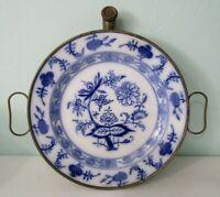 Meissen Blue Onion Gebruder Bing German Porcelain Tin Warming Plate Damaged