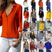 Womens V Neck Long Sleeve Blouse Loose Tops T-shirt Ladies Casual Office Shirts