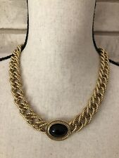 1928 Vintage Inspired Necklace Gold Double Braided Chain Black Pendant