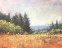 Original oil painting trees and impressionist landscape painting S J Studio