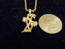 bling gold plated southern beach palm tree pendant charm chain necklace hip hop