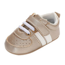 NEW Baby Girl Gold Sneakers Soft Sole Faux Leather Crib Shoes 0-6 Months
