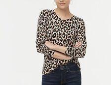 NEW Leopard JCREW Crew Neck Long Sleeve Cotton Lightweight Sweater M NWT