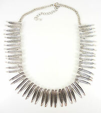 Silver Tribal Leaves Statement Fashion Jewellery Necklace