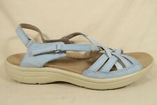 Hotter Maisie Blue Leather Ankle Strap Sandals Shoes England Womens 10 US/UK 8