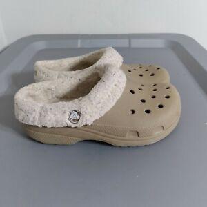 Crocs Youth Kids Size 12 Shoes Khaki Slip On Insulated Slides Lightweight Sandal