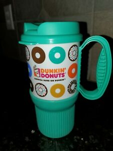 Dunkin Donuts Travel Mug Tumbler with Handle 16 Oz Mint Green Whirley