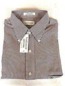 NWT Van Heusen Pinpoint Oxford Dress Shirt Men's 16.5 - 32/33 Cotton Poly Stripe