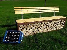 Komfortable Edelrost-Gartenbank mit Rückenlehne Scheitholz/Edelrostkombination