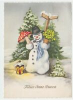 1960 Snowman Mushroom Leaf Clover Card Vintage Happy Year New