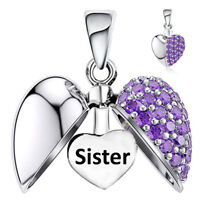 Sister Charm Bead Purple Crystal I Love You Heart Sterling Silver Christmas Gift