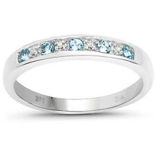 9ct White Gold Blue Topaz & Diamond 3mm Slim width Eternity Ring Size JKMNPQRSTU