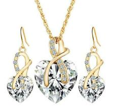 18k Yellow Gold Plated Clear Crystal Necklace & Drop Earring Set