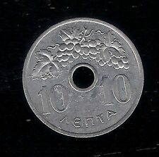 1954 TEN 10 LEPTA GREECE COIN Aluminium Paul I