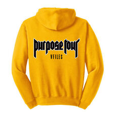 "Justin Bieber ""VFILES / Security / Purpose Tour NY 2016"" Gold Hoodie Sweatshirt"