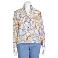 Escada $600 Ivory Equestrian Print 100% Silk Button Down Blouse Shirt Top 40/10