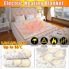 Luxurious Double Electric Heating Blanket Soft Fleece Grey Throw Over Heated @