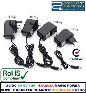 AC/DC 5V 9V 12V - 1A/2A/3A Mains Power Supply Adapter Charger US/EU/AU/UK PLUG