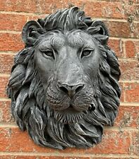 STONE GARDEN LARGE DETAILED LION HEAD WALL HANGING PLAQUE ORNAMENT