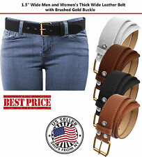 Plain Stitch Thick Wide Leather Removable Brushed Gold Stitch Buckle Belt 5XL US