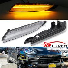 LED Side Marker Bumper Lights For Porsche Cayenne 958 Gen 2015-2019 Clear Amber
