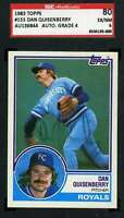 Dan Quisenberry 1983 Topps Hand Signed Sgc Original Authentic Autograph