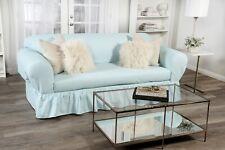 Ruffled Cotton Sofa Slipcover 2 pc Tiffany Blue