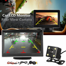5 Inch TFT-LCD Screen Rear View Mirror Monitor Car Backup 4 LED Camera Desktop