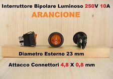 Interruttore bipolare a bilanciere tondo luminoso arancio da pannello 250V 10Amp