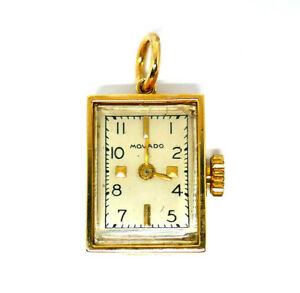 Movado Vintage Watch Pendant 10k Yellow Gold