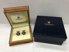 FABERGE Germany 18k Yellow Gold Cufflinks Guilloche Enamel Numbered 236/300