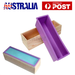 Wood Loaf Soap Mould w/ Silicone Mold Cake Making Wooden Box Rectangle Base DIY