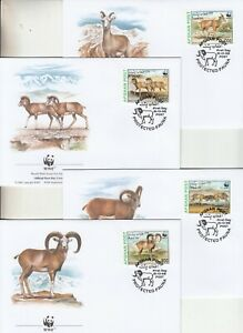 Afghanistan, 1998 WWF Urial set on 4 special First day covers. Scarce items