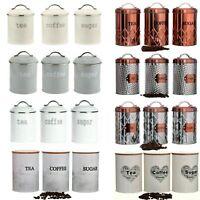 Retro Set Of 3 Tea Coffee Sugar Canisters Kitchen Storage Pot Jars Air Tight Lid