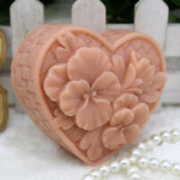 Heart Shaped Flower Mold Silicone Bar Soap Mold for Diy Craft Handmade Soap