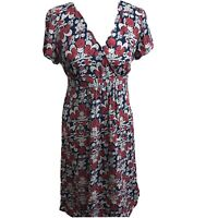 East red blue summer tea Dress uk 10 light fit and flare work casual