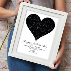 Personalised Heart Star Map Print Gift Mother's Day Wedding Engagement Birthday
