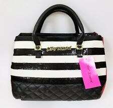 NEW BETSEY JOHNSON WHITE+BLACK QUILTED,SEQUINS STRIPE+RED PVC,GOLD,SATCHEL,BAG