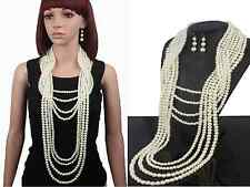 CHUNKY MULTI-STRAND TIERED CREAM FAUX PEARL STATEMENT NECKLACE EARRINGS SET