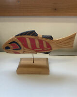 Wood Carving Salmon First Nations Art Carving On Stand Painted Native  CB1