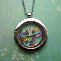 Sterling ReadyMade Floating Charm Locket Necklace Easter Theme Locket and Charms