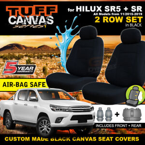 BLACK TUFF CANVAS Seat Covers for Toyota Hilux SR5 SR Dual Cab 2ROW 7/2015-21