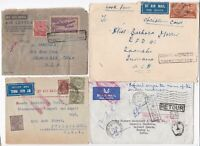 ! 1938/64? 4 COVERS TO/FROM INDIA TOO LATE REFUSED INSUFFICIENT PAID FOR AIRMAIL