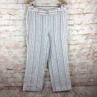 Chico's Womens Cream Striped 100% Linen Pants Size 1.5 Medium
